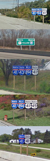 Interstate 41 reassurance route marker examples