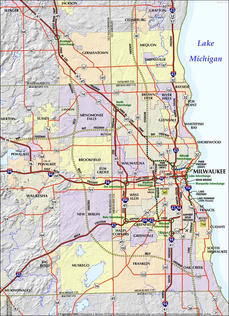 Milwaukee Freeway System Map